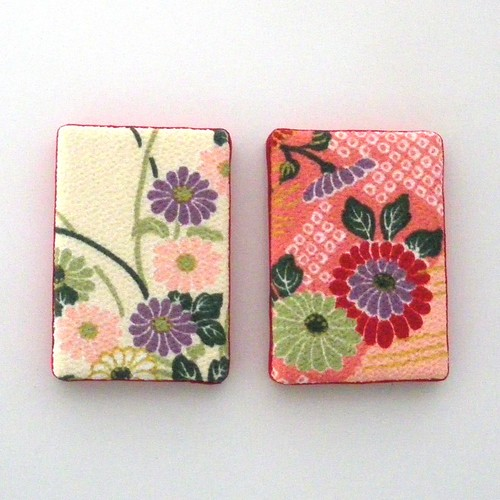 The art of Kimono - chirimen pink 5cm x 7cm mini canvas magnet (set of two) 1