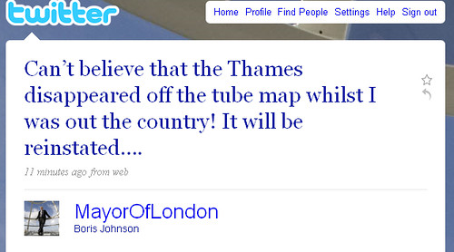 Boris Johnson Reinstating Thames on Tube Map