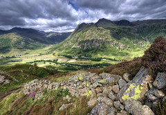 England: Cumbria - Great Langdale Valley (Tim Blessed) Tags: uk sky mountains clouds landscapes countryside scenery cumbria lakedistrictnationalpark singlerawtonemapped alemdagqualityonlyclub magicunicornverybest