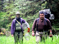 Reseach crew carry the mornings field equipment into a study site