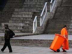 Inconspicuous (skubmic) Tags: orange grey stair opposite stuttgart bin busy chameleon obvious freitreppe inconspicuous sanitationworker schlosplatz skubmic