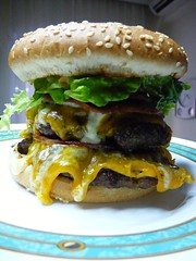 Jumbo Burger (Athliara) Tags: blue cheese real bacon yummy big sauce beef burger tasty sandwich meat delicious lettuce cheeseburger homemade cheddar roquefort jumbo creole sesamebun chedar notplastic