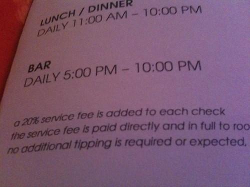 20% Service Fee? - Ma Peche Mezzanine