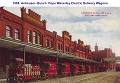 1908 Anheuser-Busch St. Louis City Delivery Dept Waverley Electric Trucks (carlylehold) Tags: motor car co delivery wagons pope waverley electric autos cars trucks vehicles budweiser yeast eagle extra dry ginger ale grape bouquet diesel bevo b root bear ab ice cream draught barley malt near anheuser busch sulzer prohibition st louis syrup nutrine truck antique carlylehold hops automobile wheels transportation auto bier beer zythum zythepsary keeper bravo saint street haefner mo 1908 robertchaefner history happened here happens brewing lager brewer robert c bob and