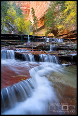 Elemental Zion - Zion National Park, Utah (Adrian Klein) Tags: autumn trees red podcast cold green fall water beauty yellow canon subway utah nationalpark klein seasons hiking scenic windy icon falls icicle zion adrian flowing walls popular iconic canyons gitzo courtesy elemental permits limiteduse