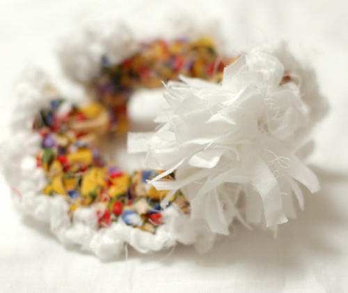 Fabric crochet scrunchie
