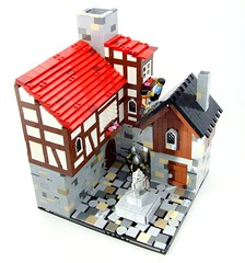 Don't look up! (Shadow Viking) Tags: roof castle statue buildings square climb town escape lego andreas tudor cobblestones soldiers outlaw halftimber jayko foitsop cccvii cccviioutlawescape