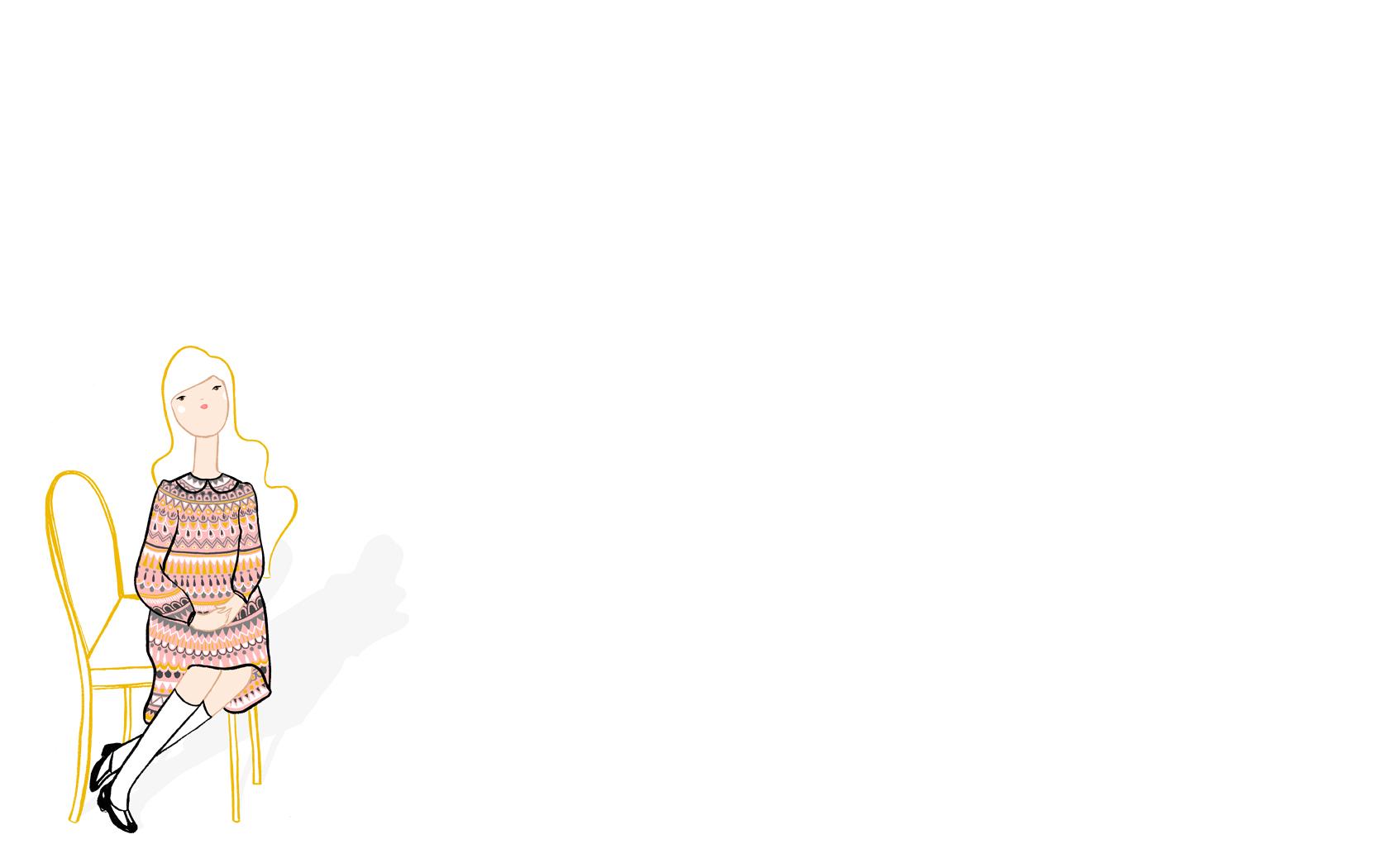 可愛い女の子のイラスト : シンプルだけどお洒落!pcデスクトップ壁紙