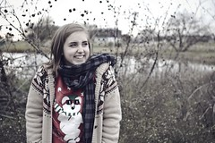 merry christmas to me :D (laurenmarek) Tags: christmas portrait holiday cold college me scarf photoshop self myself dallas sweater nikon focus december texas dof tx sigma adobe elements lightroom 30mm utdallas d40 laurenmarek