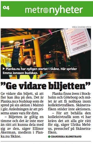 Metro om Planka.nu Skåne
