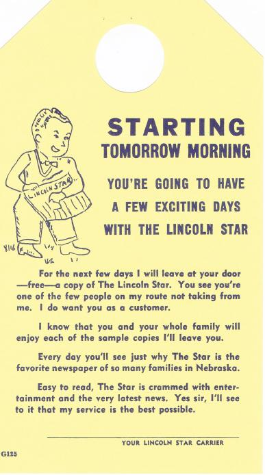 Door Hanger (Front Side) for Paper Boys Who Delivered Lincoln Star (Lincoln, Nebraska)