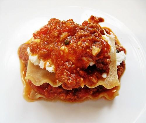 Assembling Lasagna with Ricotta & Sauce