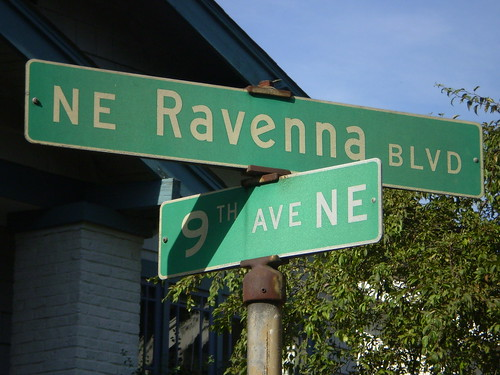 1960s-era street signs at N.E. Ravenna Blvd. and 9th Ave. N.E., Seattle