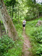 Through The Woods (Adam Zolyak) Tags: family people location trailshiking valeriepegher gunpowerfallsstateparkmd
