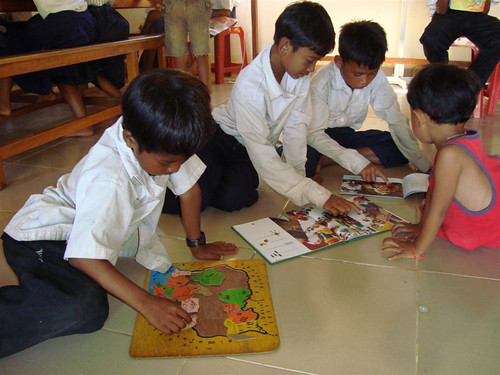In addition to books, Room to Read provided educational games and puzzles.