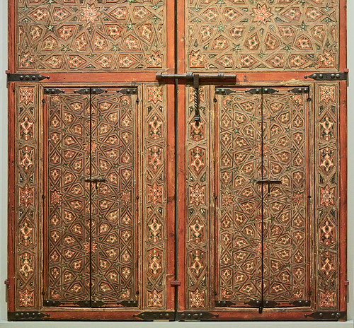 "Painted wooden doors, ""Doors from the Convent of St. Isabel"", Hispano-Moresque, 16th-17th century, at the Saint Louis Art Museum, in Saint Louis, Missouri, USA"