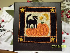 Standing tall kitty (Prim*Rose*Hill) Tags: moon cat stars pumpkin kitty prim primitive punchneedle keepsakebox
