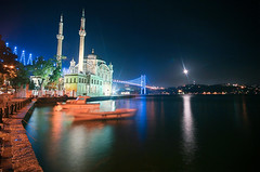 Ortakoy, Istanbul (azem) Tags: longexposure travel sea moon night canon turkey photography eos boat asia europe muslim islam culture istanbul mosque azem 2009 bosphorus ortakoy