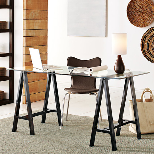 sawhorse desk west elm
