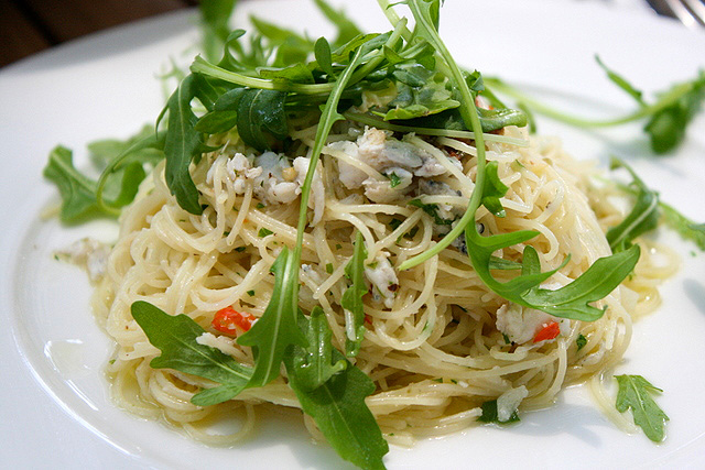 Pasta Aglio Olio (S$12.80): vermicelli pasta with white bait, garlic and fresh arugula