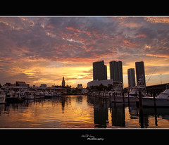 SUNSET AT THE PORT II (Hector G Lincz) Tags: sunset sky clouds port buildings nikon miami refections d90 miamibayside