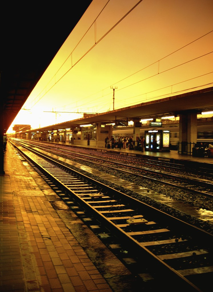 Sunset over Bologna, Italy Train Station