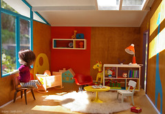 playroom (Super*Junk) Tags: vintage miniature handmade interior retro 112 diorama dollhouse midcentury playroom puki roombox