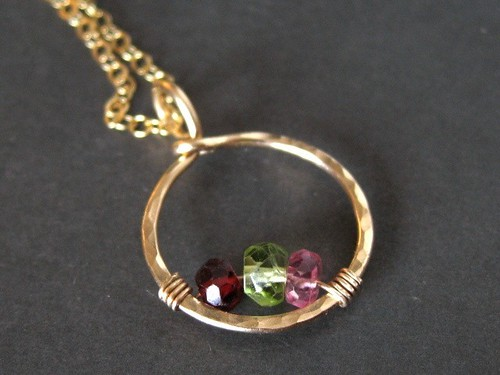 Family Birthstone Necklace in solid 14K gold