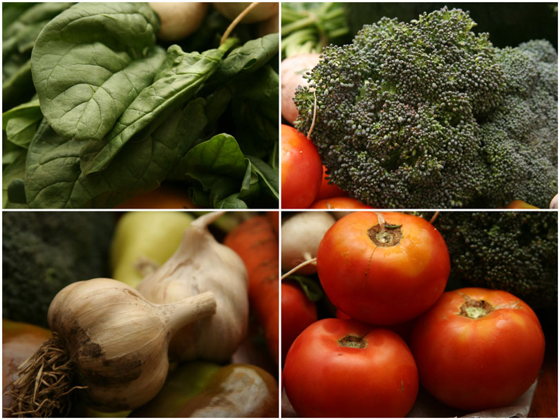 Spinach, Broccoli, Garlic & Tomatoes
