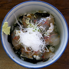 #7381 Japanese horse mackerel over rice () (Nemo's great uncle) Tags: horse food geotagged lunch mackerel squaredcircle  izu atami  japonicus     eastizu hatsushima shizuokaprefecture   japanesehorsemackerel trachurusjaponicus trachurus geo:lon=139166222  geo:lat=35041592