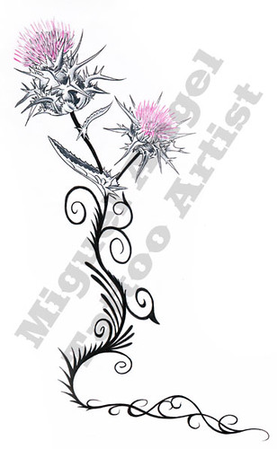 Scottish Thistle. Miguel Angel Custom Tattoo Artist