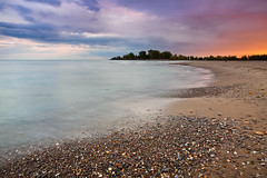 Pastel (Benson Kua) Tags: blue trees sunset sky people orange lake toronto ontario canada beach water kew clouds bay sand rocks purple pebbles woodbine ashbridges mg4403 pwlandscape