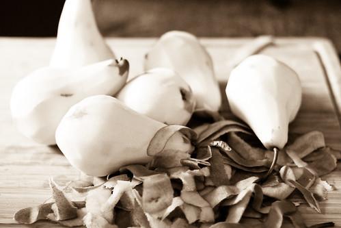 bosc pears, peeled