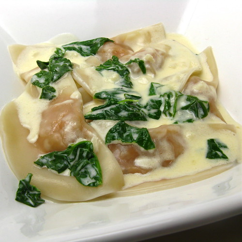 Sweet Potato Ravioli with Spinach in Cream Sauce