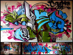 By CAVEMAN (with OWER) (Thias (-)) Tags: terrain streetart paris wall painting graffiti mural spray painter graff aerosol 92 bombing dsf caveman ambiance ower entrepot frenchgraff caveman2012