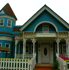 Blue and white classic Victorian House, Cambria, California, USA