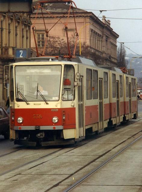 Tatra KT8D5 tram nr 538 in Koice   Slovakia March 1993 by sludgegulper