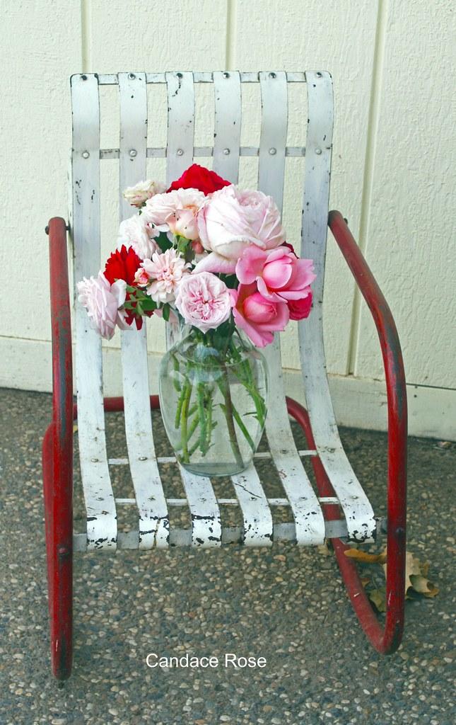 English Rose Bouquet; Vintage Chair