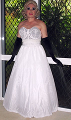 Under the Gown (Christine Fantasy) Tags: feminine makeup christine fantasy blonde transvestite gown satin crossdresser transsexual shemale girdle petticoats
