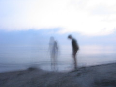 Moment of deja vu (fortisdr) Tags: abstract blur silhouette kids canon mystical seashore lithuania ghosty palanga powershota510