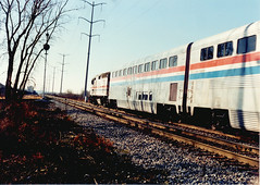 Westbound Amtrak train. Summit Illinois. December 1990.