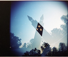 Bell tower (loganbertram) Tags: tower 120 mediumformat photography holga bell belltower multipleexposure carolina medium format logan unc bertram uncbelltower loganbertram loganbertramphotography