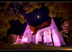 Inglewood Church (Mark Solly (F-StopNinja)) Tags: lighting longexposure pink trees newzealand sky moon building church grass night path taranaki inglewood sigma1020mm nikond90