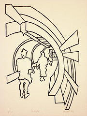 Woodcut Temple '99 20x30cm (peterwortel) Tags: white black art underground mine metro kunst tunnel zwart wit mijn woodcut gravure houtsnede