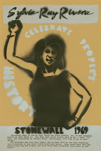 Sylvia and the poster's text look like spray-painted stencils. Sylvia is raising a fist and her mouth is shouting. The text beneath her reads Stonewal 1969.