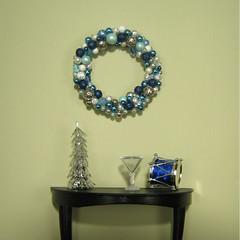 Blue Christmas Wreath hanging (smidge girl) Tags: christmas holiday actionfigure miniature doll barbie wreath ornaments etsy vignette diorama bluechristmas sixthscale smidgehouse smidgegirl