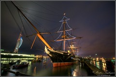 The Spinaker Tower and HMS Warrior (Martin_Finlayson) Tags: rain iso3200 nikon portsmouth handheld tamron hdr pouring afterdark d300 hmswarrior underduress spinakertower photomatix 5exp 1024mm