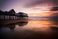 Old Orchard Beach Sunrise (chris lazzery) Tags: ocean longexposure beach sunrise maine 5d atlanticocean oldorchardbeach canonef1740mmf4l bw30nd