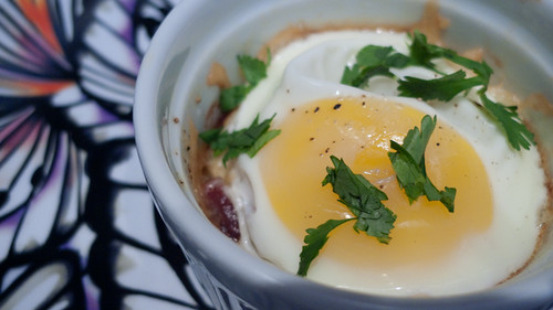 Baked Eggs with Bacon, Caramelized Onion and Gruyere