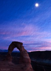 Delicate Arch, the Moon and Jupiter (Russ W Jackson) Tags: sunset moon utah nationalpark arch arches jupiter archesnationalpark